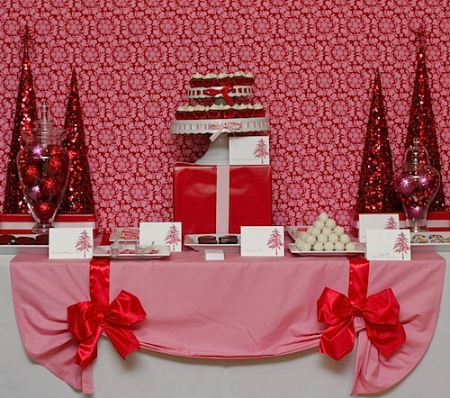 Pink & Red Christmas Dessert Table Feature