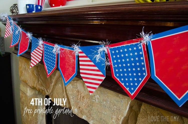 4th Of July Ideas:: FREE Printable Garland by Love The Day