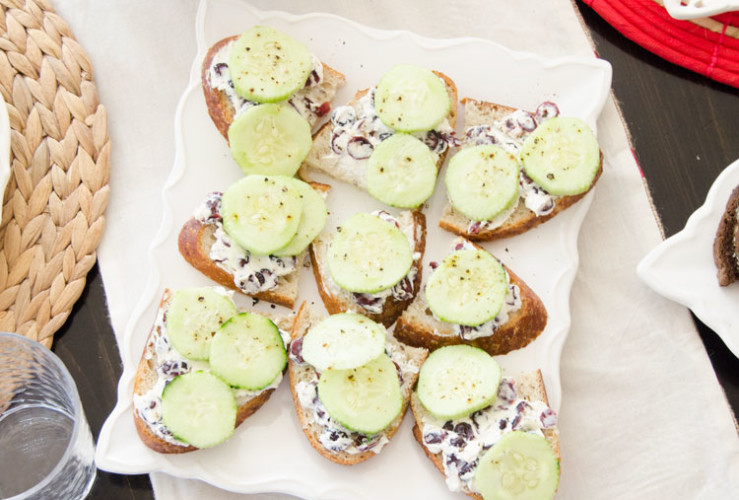 Cucumber & Craisin Tea Sandwiches by Love The Day