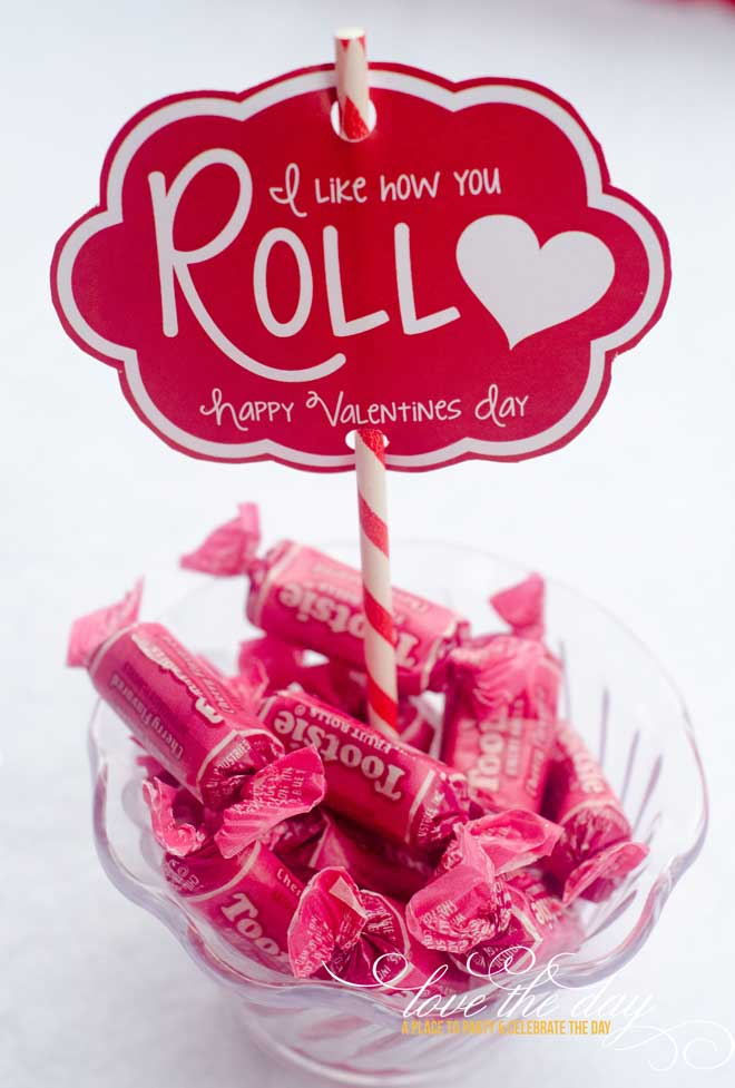 'i like how you roll' diy valentine printable & idea
