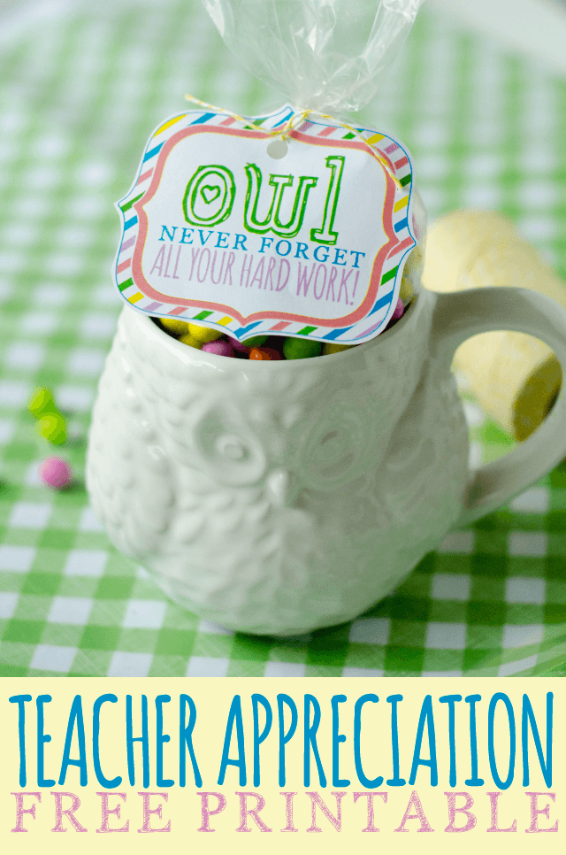 FREE Printable Teacher Appreciation Gifts:: 'Owl Never Forget All Your Hard Work'