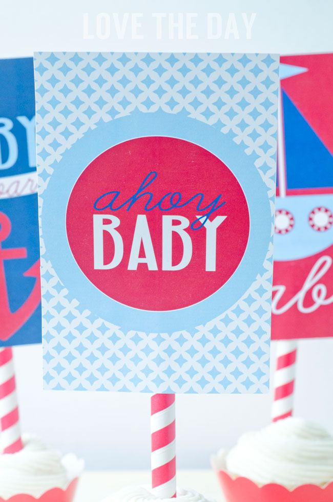 Nautical Baby Shower Cupcake Toppers:: How To Use Printables