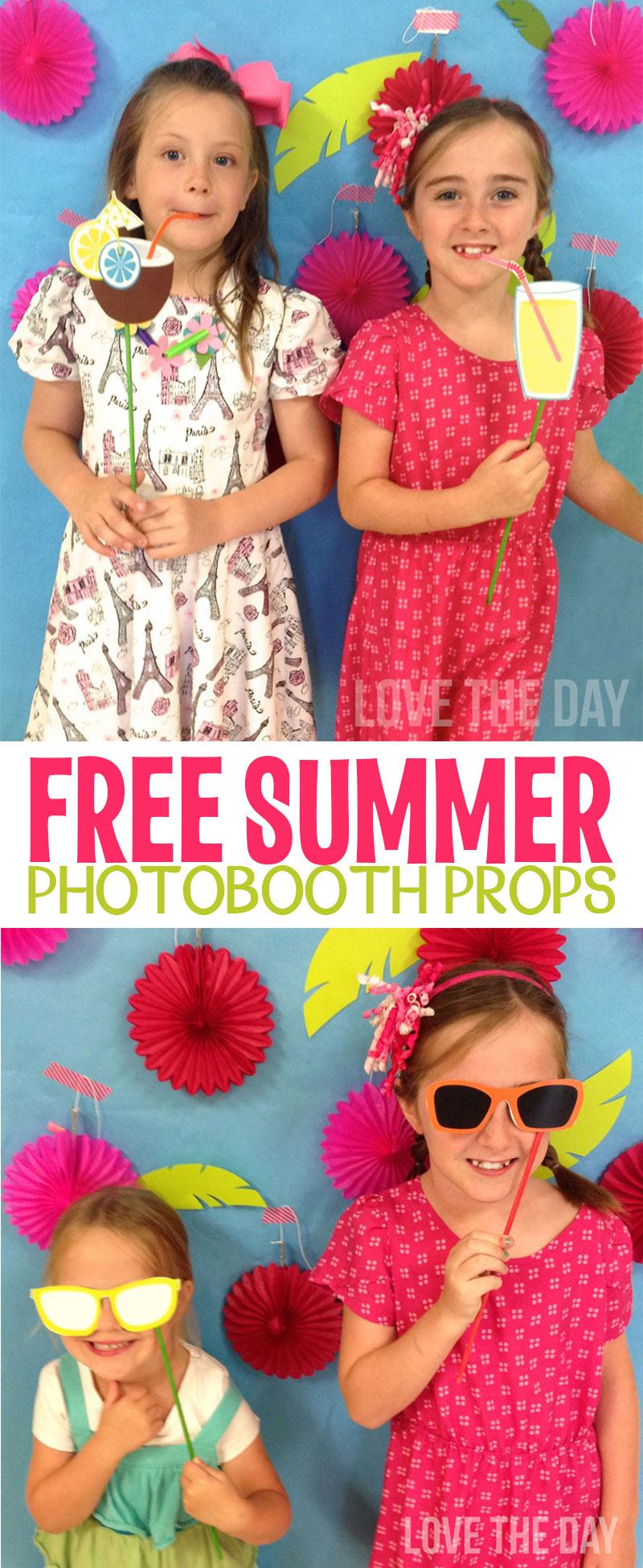 FREE Summer Photobooth Props by Lindi Haws of Love The Day
