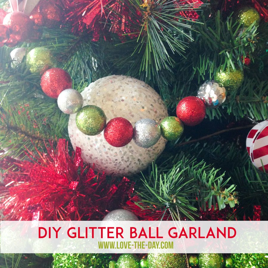 diy christmas decorations whimsical glittered ball garlands - Garland Christmas Decor