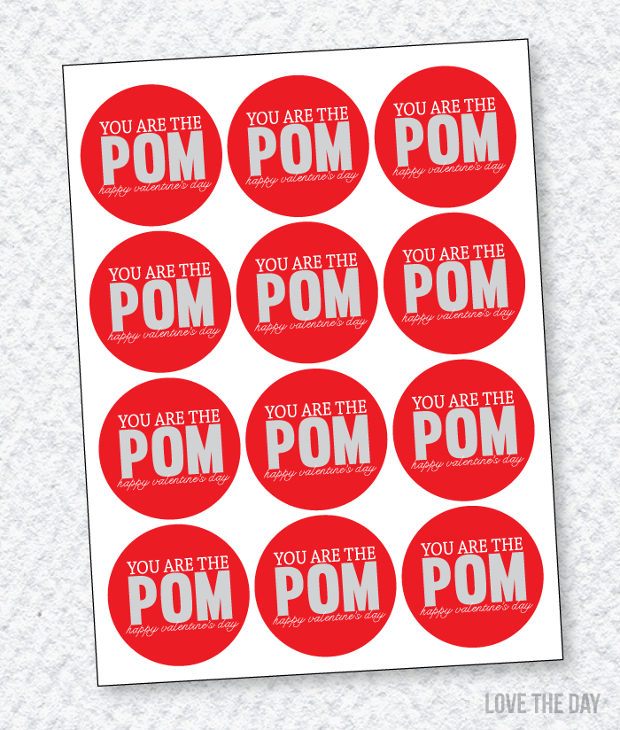 'You're The POM' FREE Printable Valentine Tags by Love The Day