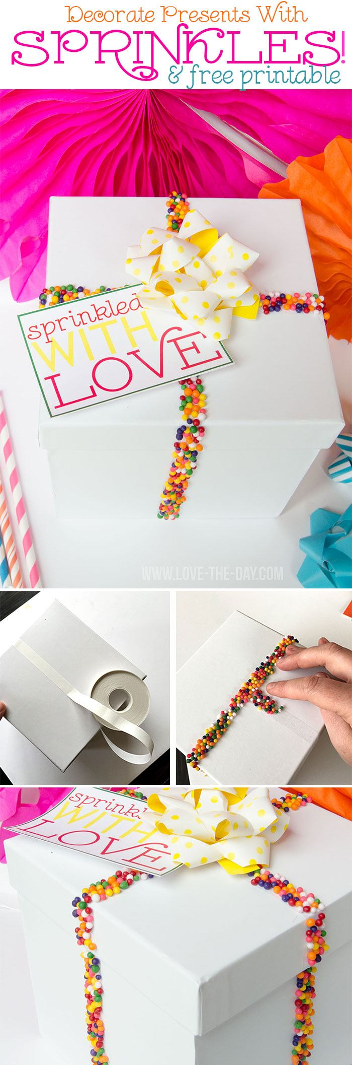 Decorate Presents with Sprinkles|Tutorial & Free Printable by Love They Day