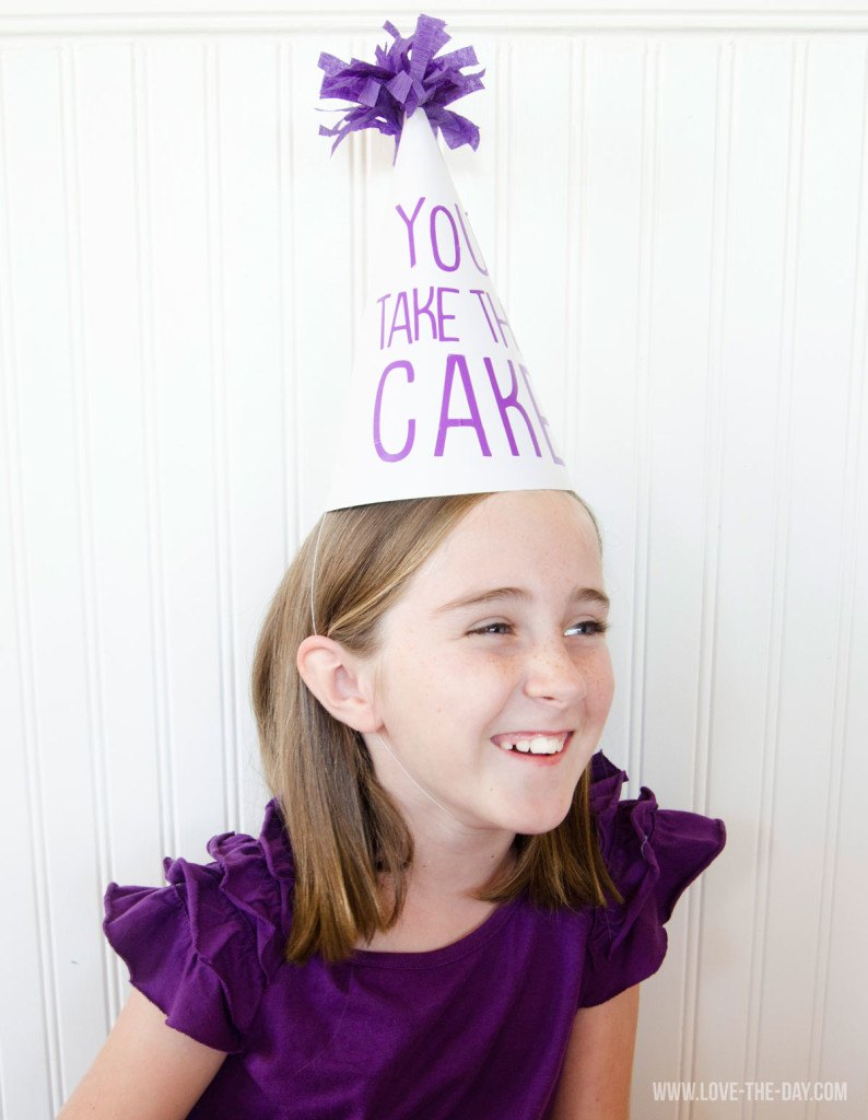 'You Take The Cake' Party Hats with Cricut Explore by Love The Day
