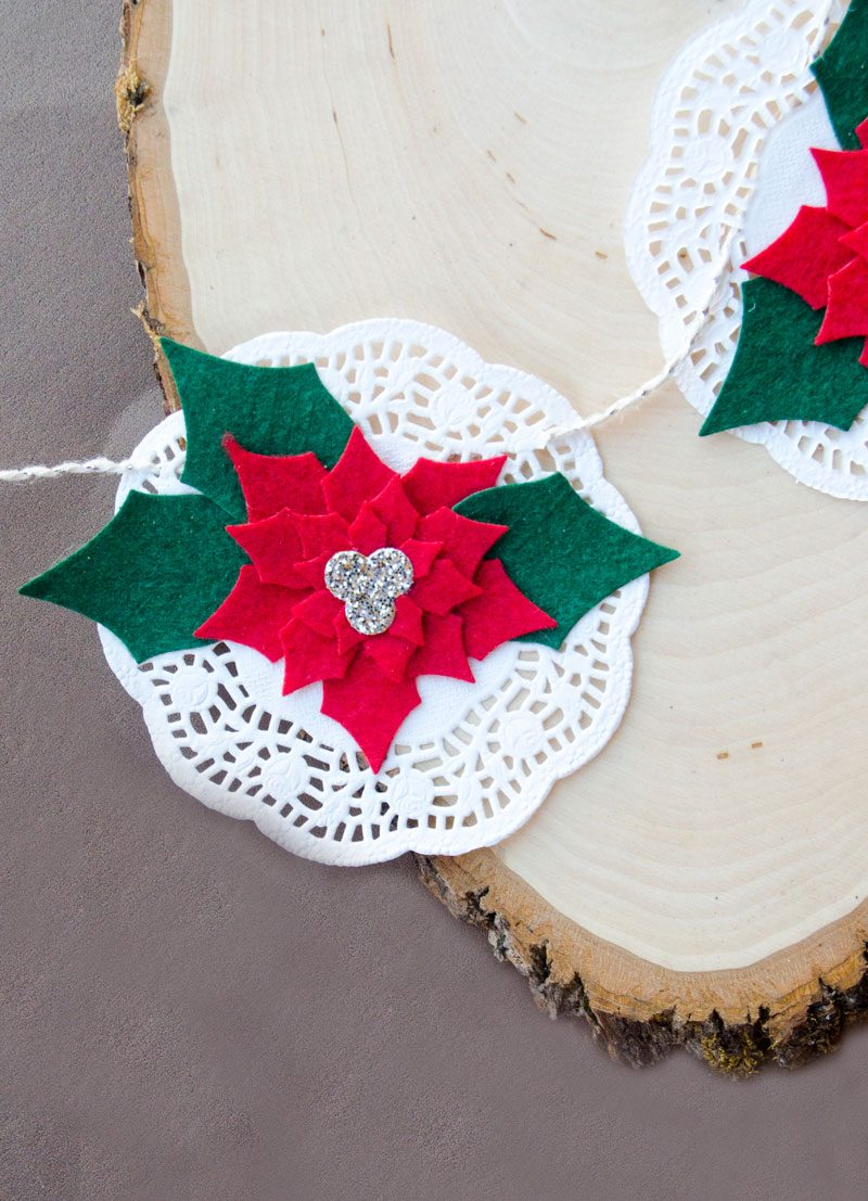 Poinsettia felt christmas garland