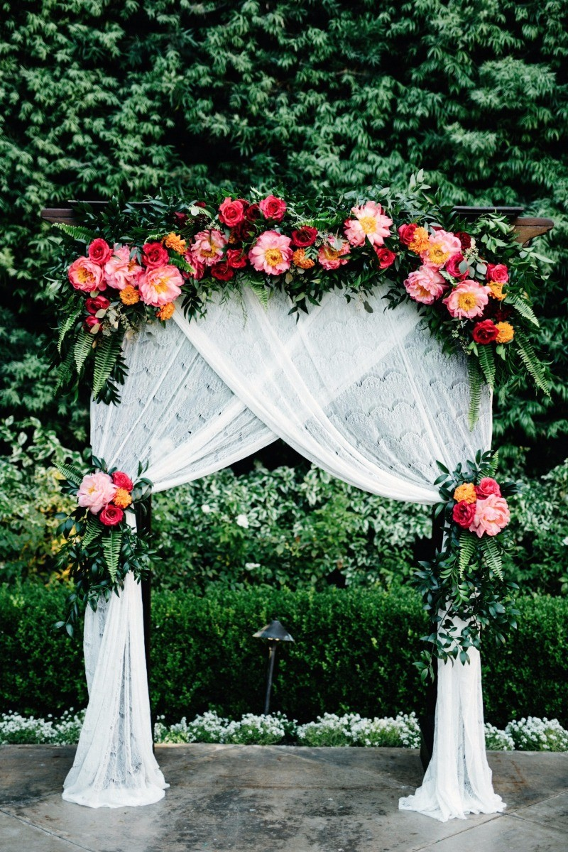 10 simple and stunning wedding backdrop ideas on love the day lace and floral backdrop 10 stunning wedding backdrop ideas on love the day junglespirit Images