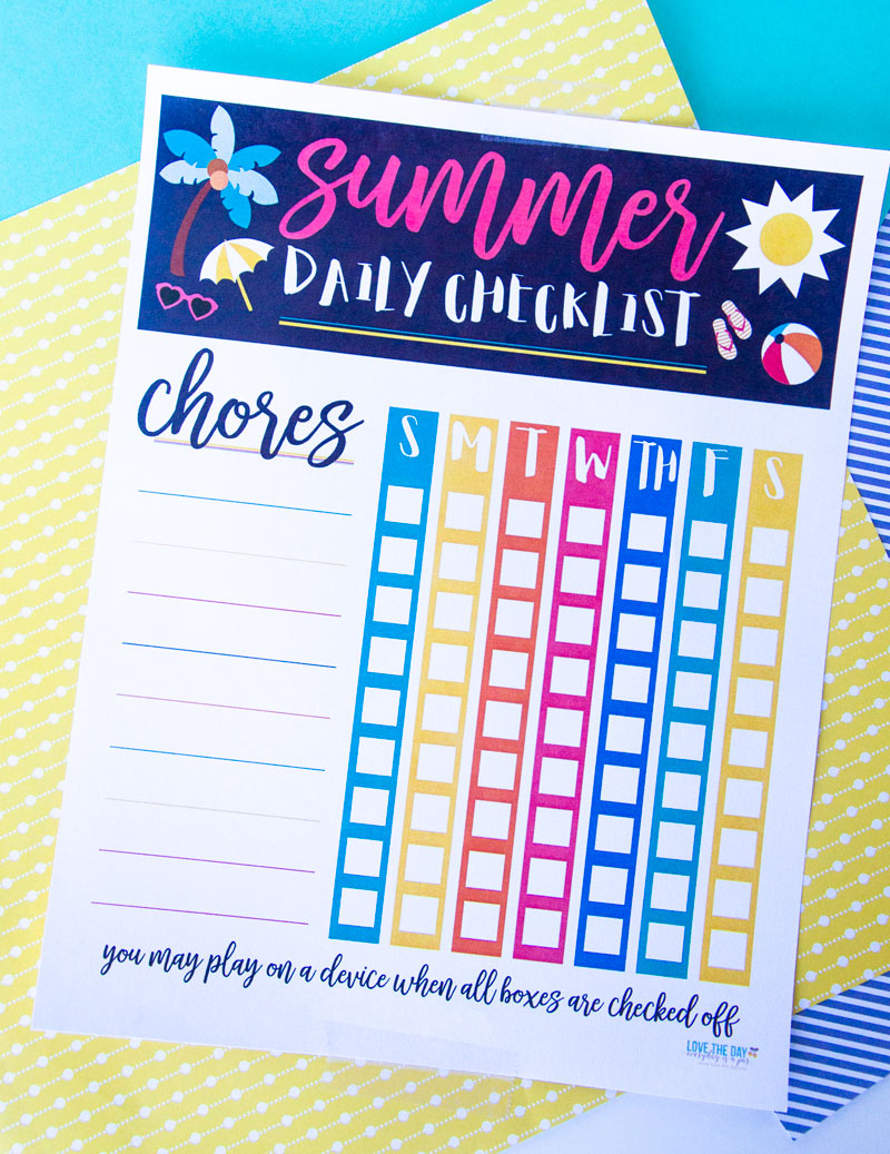 Summer Chore Chart Template by Lindi Haws of Love The Day