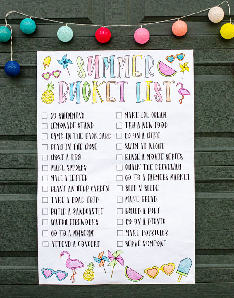 Printable Summer Bucket List Ideas by Lindi Haws of Love The Day