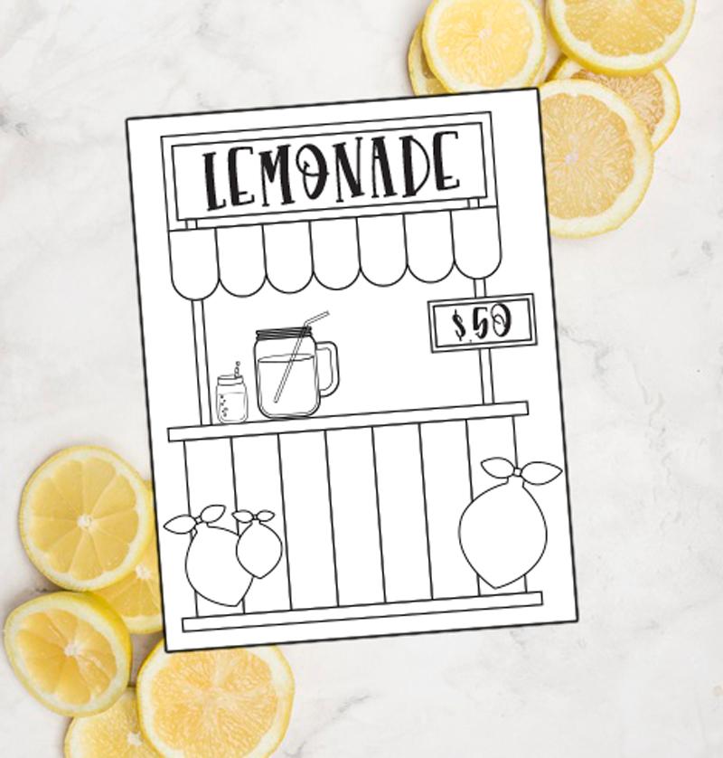 Lemonade Stand Coloring Sheet