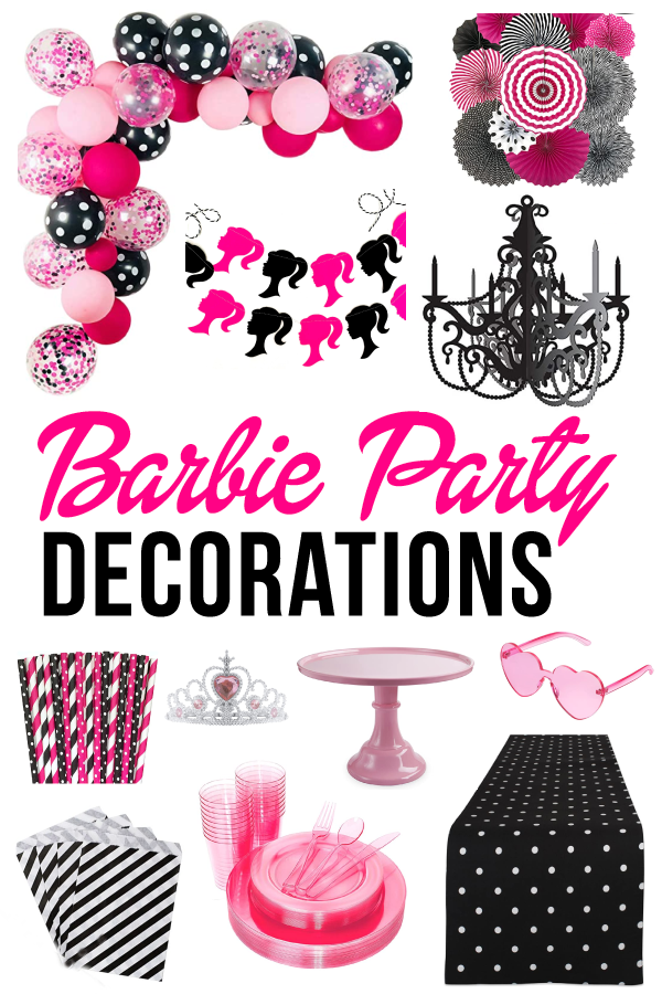 Pink & Black Barbie Decorations on Love The Day