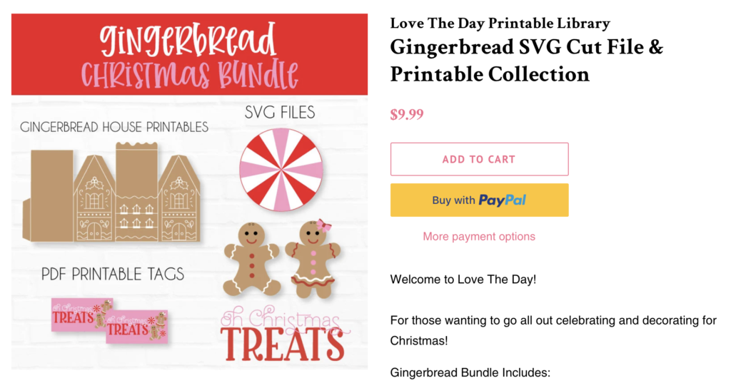 Gingerbread and Peppermint SVG Bundles by Lindi Haws of Love The Day