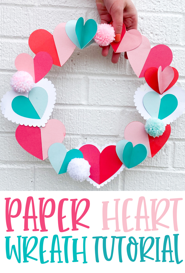 Valentine Paper Heart Wreath Tutorial by Love The Day