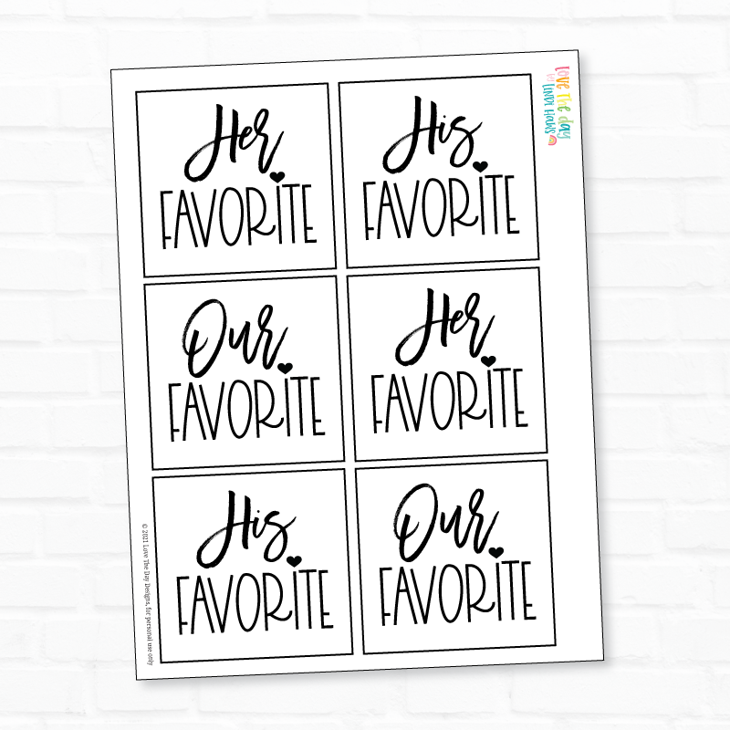 His, Hers, Ours PRINTABLE Tags by Lindi Haws of Love The Day